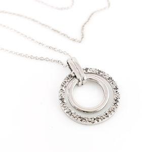 Sterling silver necklace circle pendant diamonds